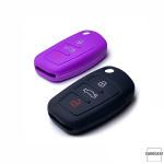Silikon Schutzhülle / Cover passend für Audi Autoschlüssel AX3 lila
