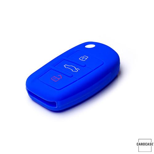 Coque de protection en silicone pour voiture Audi clé télécommande AX3 bleu
