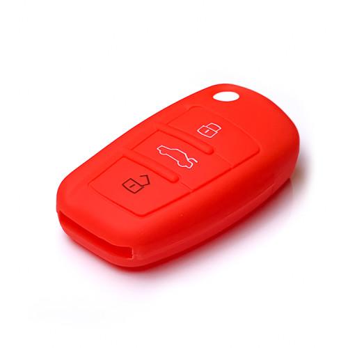Coque de protection en silicone pour voiture Audi clé télécommande AX3 rouge