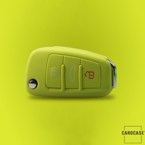 Coque de protection en silicone pour voiture Audi clé télécommande AX3 vert