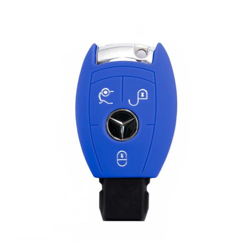 Coque de protection en silicone pour voiture Mercedes-Benz clé télécommande M7 bleu