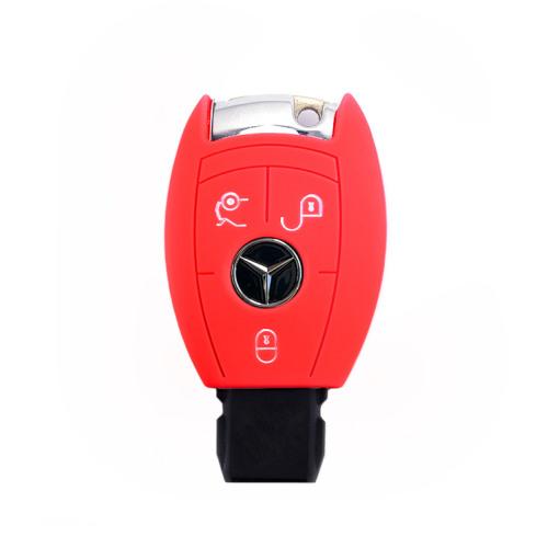 Coque de protection en silicone pour voiture Mercedes-Benz clé télécommande M7 rouge