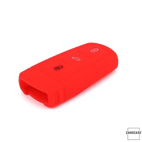 Coque de protection en silicone pour voiture Volkswagen clé télécommande V6 rouge