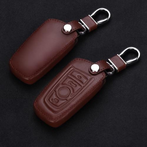 Coque de protection en cuir pour voiture BMW clé télécommande B4, B5 brun foncé