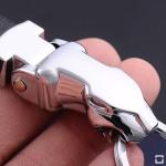 Schlüsselanhänger aus massivem Metall und echtem Leder mit Leoparden Kopf