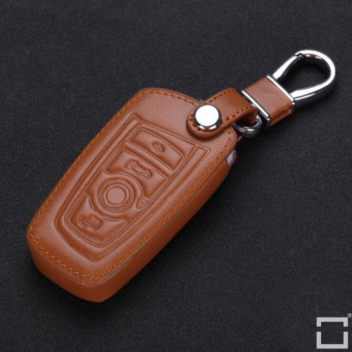 Leather key fob cover case fit for BMW B4, B5 remote key light brown
