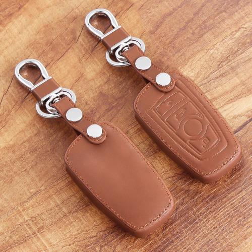 Coque de protection en cuir pour voiture BMW clé télécommande B4, B5 brun clair