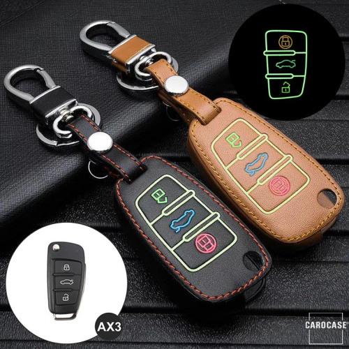 Lumineux coque/housse de clé en cuir pour Audi Voiture