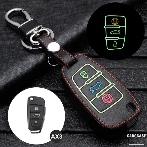 Coque de protection en cuir pour voiture Audi clé télécommande AX3 noir