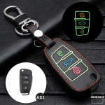 Leder Schlüssel Cover passend für Audi Schlüssel schwarz LEUCHTEND! LEK2-AX3-1
