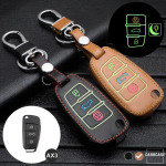 Leder Schlüssel Cover passend für Audi Schlüssel braun LEUCHTEND! LEK2-AX3-2
