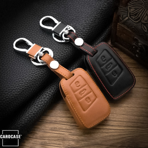Leather key case/cover incl. keychain for Volkswagen, Skoda, Seat remote key