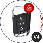 Leder Schlüssel Cover passend für Volkswagen, Skoda, Seat Schlüssel V4 schwarz