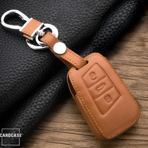 Leather key fob cover case fit for Volkswagen, Skoda, Seat V4 remote key brown