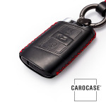 Premium 4D car Key Cover Leather for Volkswagen - KeyType V3 black/red