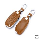 Coque / Housse Clé télécommande en cuir Voiture incl. mousquetons pour Ford brun LEK1-F2-2