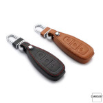 Leather key case/cover incl. keychain for Ford remote key black
