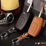 Leather key case/cover incl. keychain for Ford remote key brown