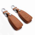 Coque / Housse Clé télécommande en cuir Voiture incl. mousquetons pour Ford brun LEK1-F4-2