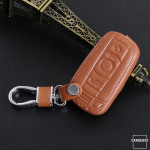 Leather key case/cover incl. keychain for BMW remote key brown