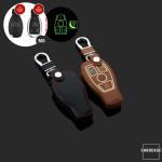 Leder Schlüssel Cover passend für Mercedes-Benz Schlüssel  LEUCHTEND! LEK2-M8