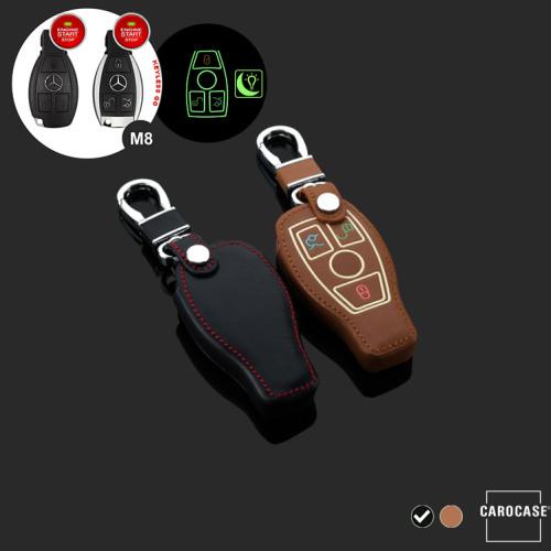 Leder Schlüssel Cover passend für Mercedes-Benz Schlüssel schwarz LEUCHTEND! LEK2-M8-1
