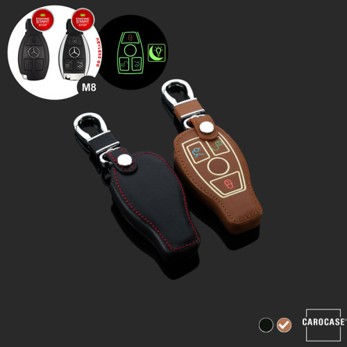 Leder Schlüssel Cover passend für Mercedes-Benz Schlüssel braun LEUCHTEND! LEK2-M8-2