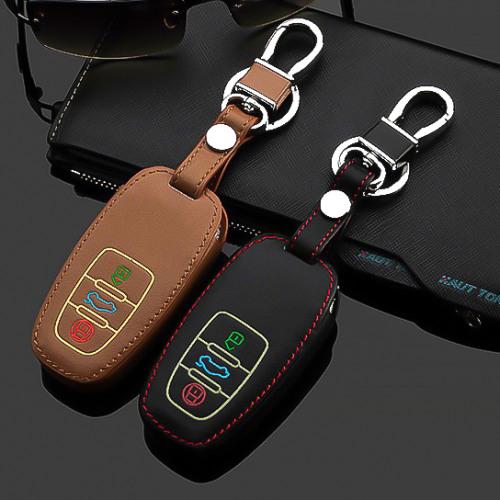 Coque de protection en cuir pour voiture Audi clé télécommande AX4