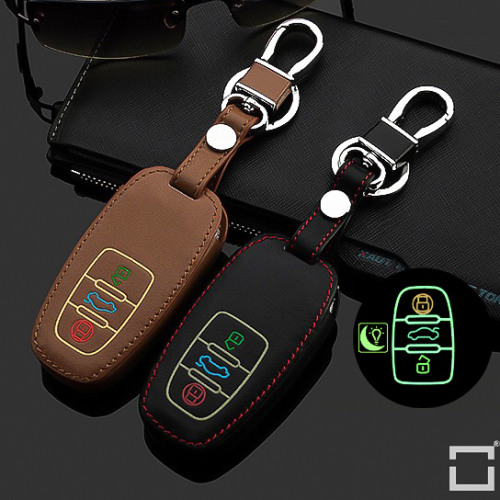 Luminous glow leather key case/cover for Audi car keys