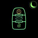Leder Schlüssel Cover passend für Audi Schlüssel  LEUCHTEND! LEK2-AX4
