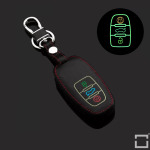 Luminous glow leather key case/cover for Audi car keys black