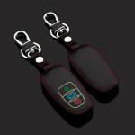 Leder Schlüssel Cover passend für Audi Schlüssel schwarz LEUCHTEND! LEK2-AX4-1