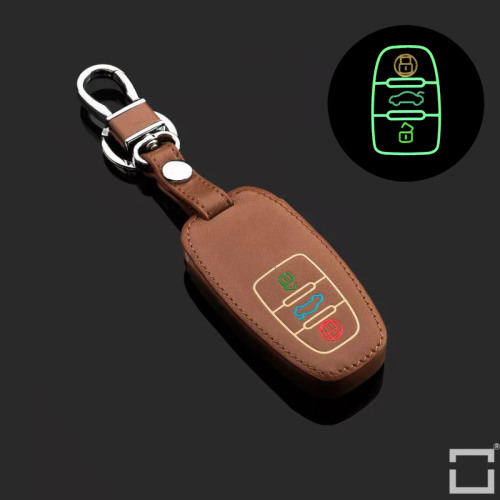 Cuero funda para llave de Audi AX4 marrón