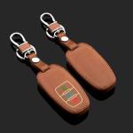 Leder Schlüssel Cover passend für Audi Schlüssel braun LEUCHTEND! LEK2-AX4-2