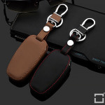 Luminous glow leather key case/cover for Audi car keys brown