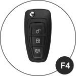 Leder Schlüssel Cover passend für Ford Schlüssel schwarz LEUCHTEND! LEK2-F4-1
