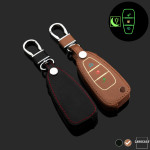 Luminous glow leather key case/cover for Ford car keys brown