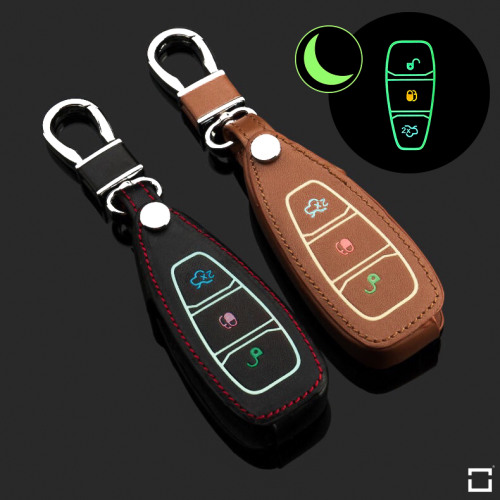 Leder Schlüssel Cover passend für Ford Schlüssel  LEUCHTEND! LEK2-F5