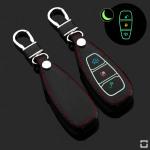 Leder Schlüssel Cover passend für Ford Schlüssel schwarz LEUCHTEND! LEK2-F5-1