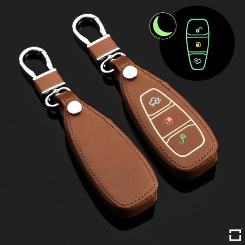 Leder Schlüssel Cover passend für Ford Schlüssel braun LEUCHTEND! LEK2-F5-2