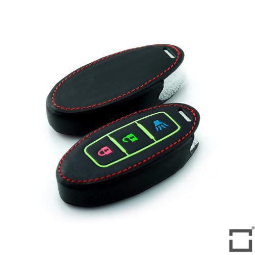 Leder Schlüssel Cover passend für Nissan Schlüssel  LEUCHTEND! LEK2-N7