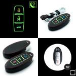 Leder Schlüssel Cover passend für Nissan Schlüssel schwarz LEUCHTEND! LEK2-N7-1