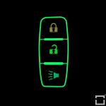 Luminous glow leather key case/cover for Nissan car keys black