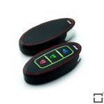 Leder Schlüssel Cover passend für Nissan Schlüssel braun LEUCHTEND! LEK2-N7-2