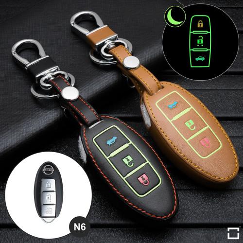 Leder Schlüssel Cover passend für Nissan Schlüssel  LEUCHTEND! LEK2-N6