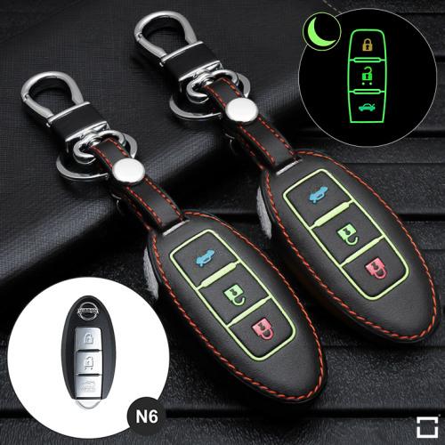 Coque de protection en cuir pour voiture Nissan clé télécommande N6 noir