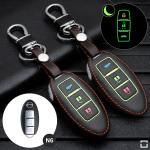 Leder Schlüssel Cover passend für Nissan Schlüssel schwarz LEUCHTEND! LEK2-N6-1