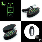 Luminous glow leather key case/cover for Nissan car keys black
