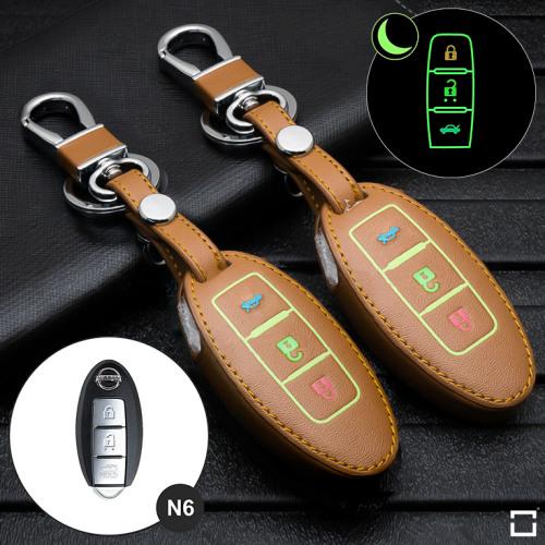 Leder Schlüssel Cover passend für Nissan Schlüssel braun LEUCHTEND! LEK2-N6-2