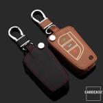 Leder Schlüssel Cover passend für Toyota, Citroen, Peugeot Schlüssel schwarz LEUCHTEND! LEK2-T2-1